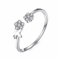 Otwarty Styl Mały Kwiat Projektowania Cienkie Pierścień Szczęście Elegancki Pierścień S925 Sterling Silver Wniosek