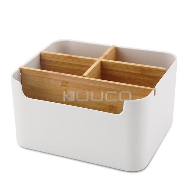 Conteneur de stockage/outils stockage/boîte rangement en bambou pour  stocker des stylos/crayons/téléphone portable/télécommande/crème les ...