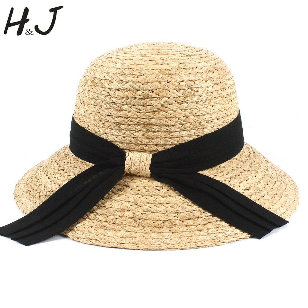100% Bast Frauen Sonnenhut Dame Dome Sommer Breiter Krempe Strand Sunbonnet Eimer Sun Caps Mit Mode Bowknot Größe 56-58 Cm