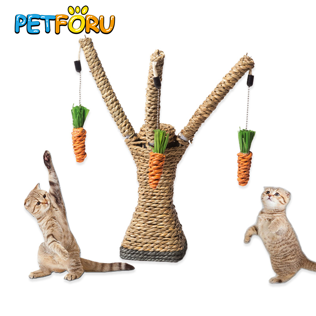PETFORU Cat Playing Rope Scratcher Toy Pet Scratching Climbing Tree With Carrots