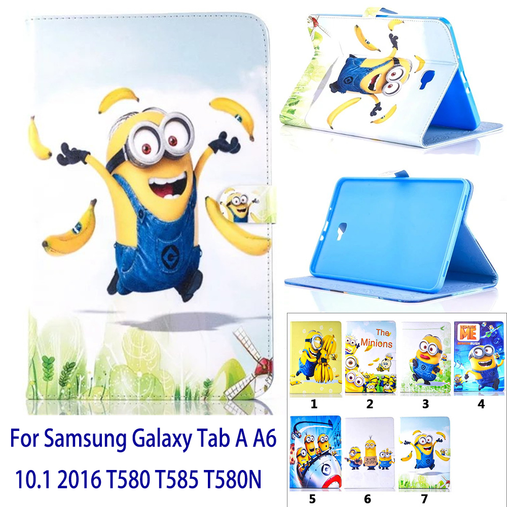 Case For Samsung Galaxy Tab A 10.1 2016 T580 <font><b>T585</b></font> T580N Cartoon Lovely Minions Print Tablet Case Cover Stand shell coque para image