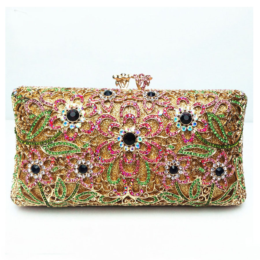 ФОТО New Hollow Out Flower Evening Clutch Bag Hard Style Makeup Bag Women Messenger Bag Handbag Shiny Rhinestone Clutch Bag
