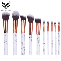 10Pc Makeup Brush Set Marble Pattern Eyeshadow Foundation Powder Blush Contour Blending Cosmetic Brush Beauty Makeup