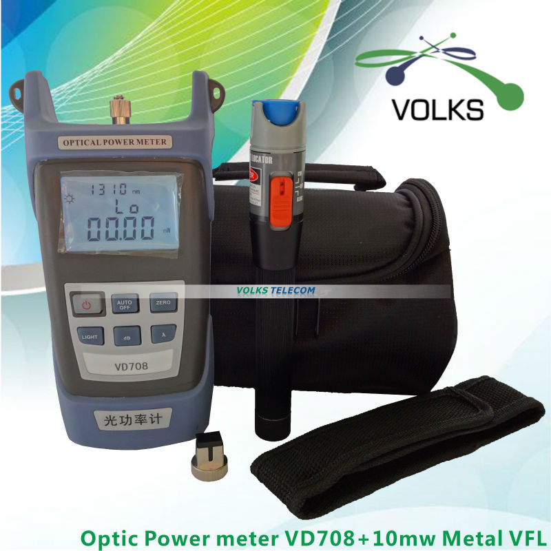 10 mW Visual Fault Locator Fiberoptisk kabel Tester og optisk fiber Metal Power Meter gratis forsendelse
