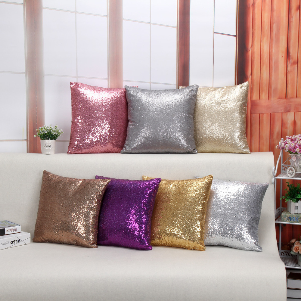European 6 Color Sequins Pillow Cover Purple, Champagne, Gray, Gold, Silver, Pink  polyester 100% Decorative Sofa Cushion Covers wallet