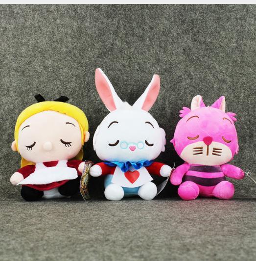 3 Styles Alice In Wonderland 2 Alice Cheshire Cat White Rabbit Stuffed Plush Toys Dolls Gift for Children