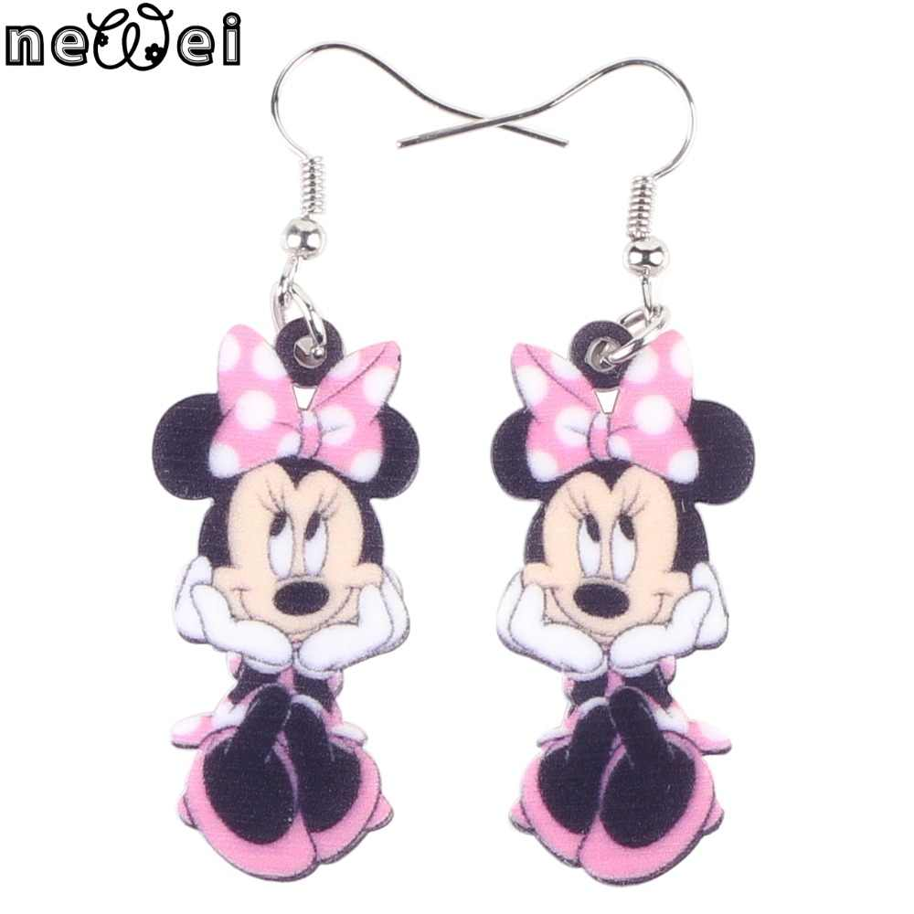 Bonsny Statement Acrylic Cartoon Smile Mouse Earrings Big Long Drop Dangle Novelty Animal Jewelry For Girls Women Gift Wholesale