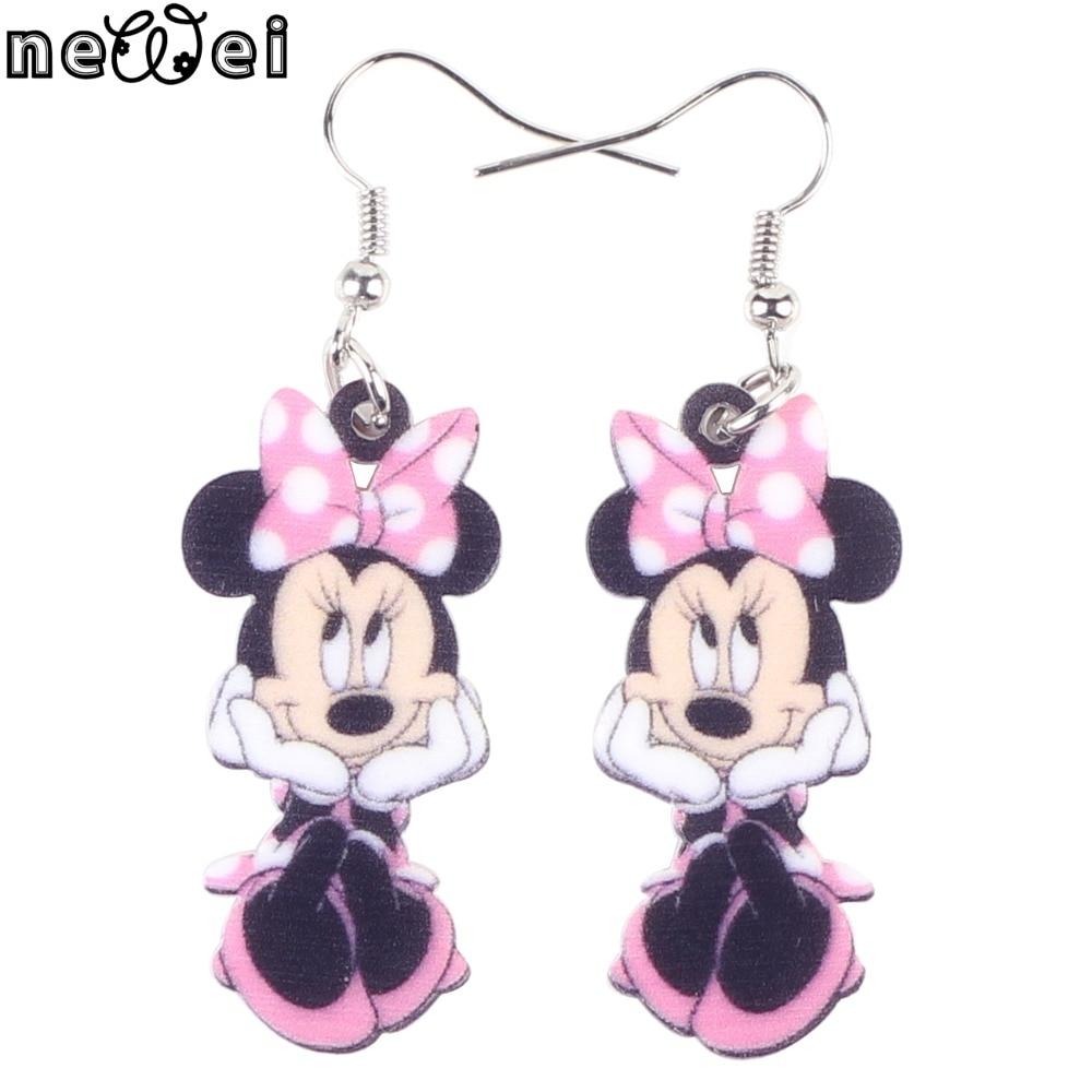 Bonsny Statement Acrylic Cartoon Smile Mouse Earrings Big Long Drop Dangle Novelty Animal Jewelry For Girls Women Gift Wholesale
