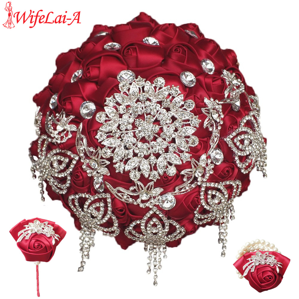 Wine red wedding bouquet with diamonds Wrist flower and boutonniere Wedding Bridal Bouquet Set can be ordered in different color
