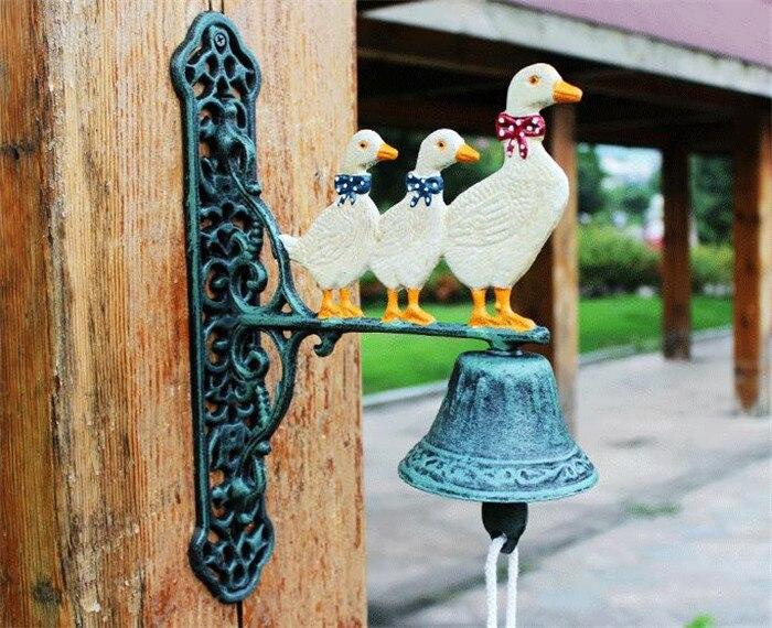 Чугунный Добро пожаловать обеденный звонок три Утки Семья настенное крепление висячий дверной звонок примитивное домашнее наружное украш... - 3