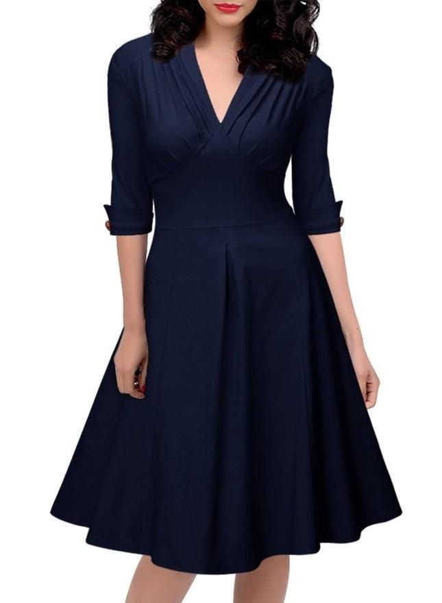 ab2899804d Women Retro Pleated Dresses Audrey Hepburn 50s Draped Plus Size Vintage  Dresses Summer 3/4 Sleeve V Neck Slim Vestido De Festa-in Dresses from  Women's ...