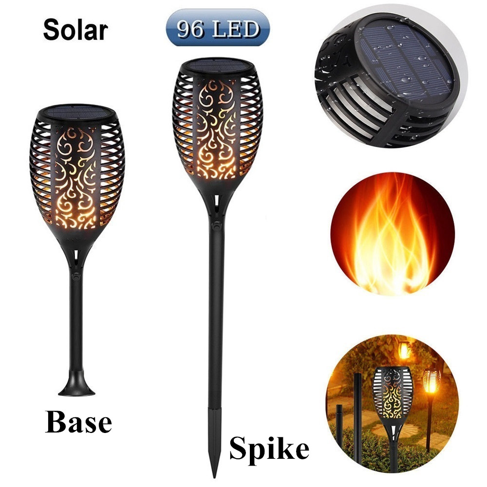 Solar Tiki Torch Lights Led Garden Waterproof Outdoor Courtyard Lamp 10 Dancing Leds Lawn Light Landscape Flame Flickering 96