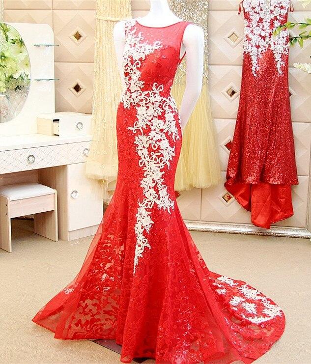 Custom Made robe de soiree 2015 Mermaid Lace Red Sexy Long   Evening     Dress   Dubai   Dress   XE72