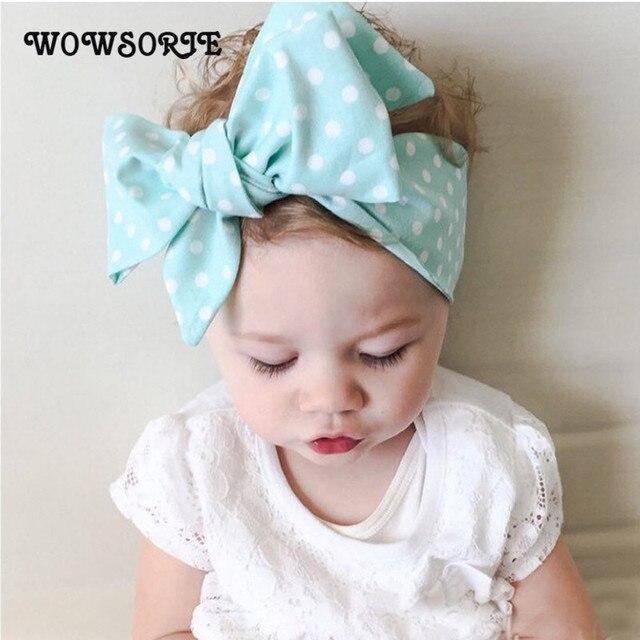 2018 Novas Crianças Arco Acessórios Para o Cabelo Banda Headbands Bowknot  Dot Headwrap Colorido Doce Turban 261d77a310a9