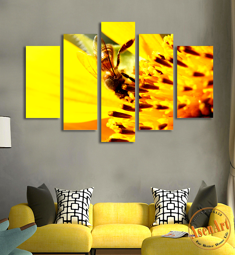 5 Panel Modern Animal Paintings Honey Bee Canvas Prints Painting ...