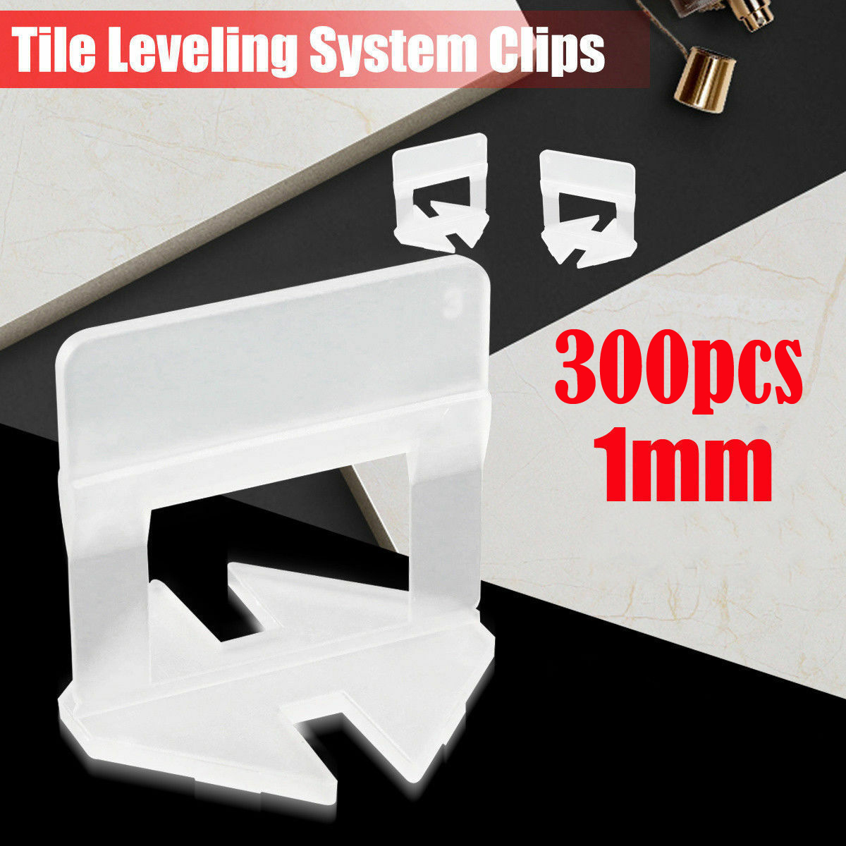300pcs Tile Leveling System Clip Wedges Wall Floor Spacers 1mm