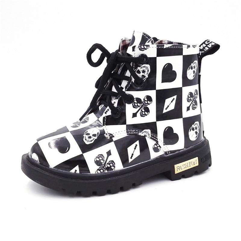 CRIANÇAS CONFORTÁVEIS Botas Sapatos Para Meninos Meninas Pu Botas de Couro Da Moda Malha Sola De Borracha À Prova D' Água Martin Botas Crianças Botas de Neve sapatos