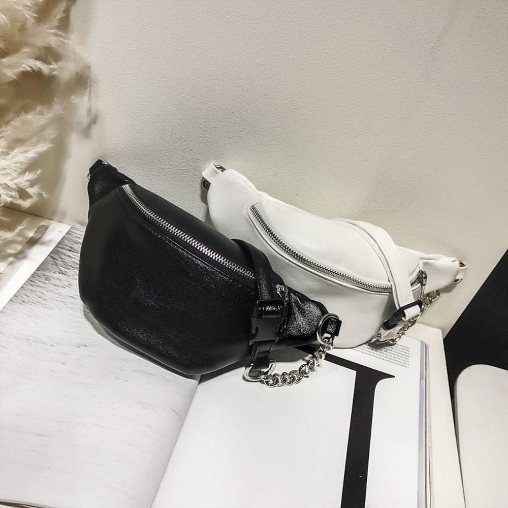 Fanny Pack Women Belt Bag Fashion Chain Leather Messenger Bag Shoulder Bag Chest Bags Small Criss-Cross Ladies' Flap Bag