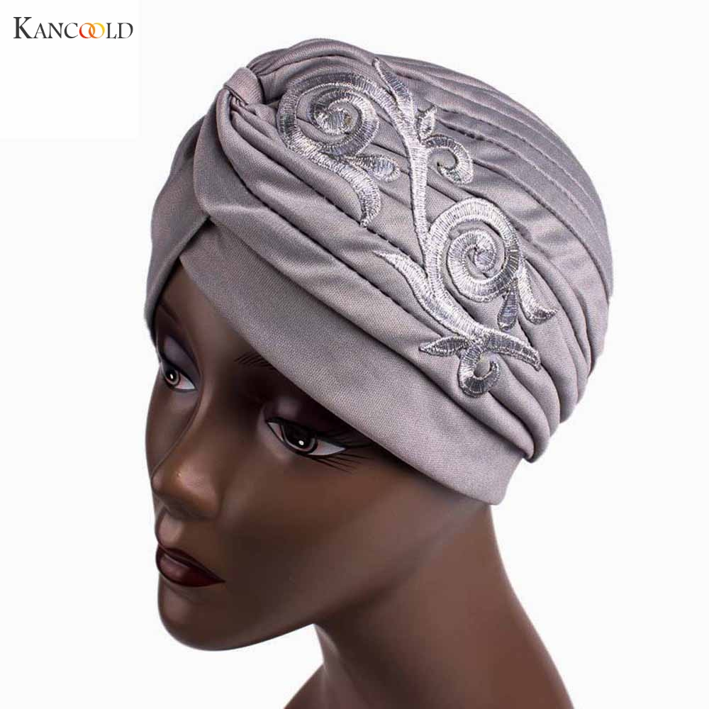 2017 Women Hat Beanie Scarf Turban Head Wrap Keep Warm caps Embroidery Muslim cap mujer Hats for Women Cancer Chemo Beanies JY4B chsdcsi pleuche women turban caps twist dome caps head wrap europe style india hats womens beanies skullies for fall and spring