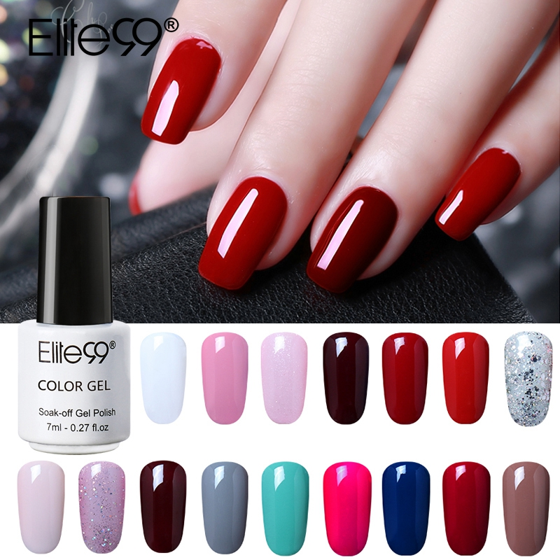 Elite99 7 мл Чистый Цвет гель лак для ногтей Топ Базовое покрытие нужно длительный УФ светодио дный светодиодный гель лаки для ногтей растворяе...