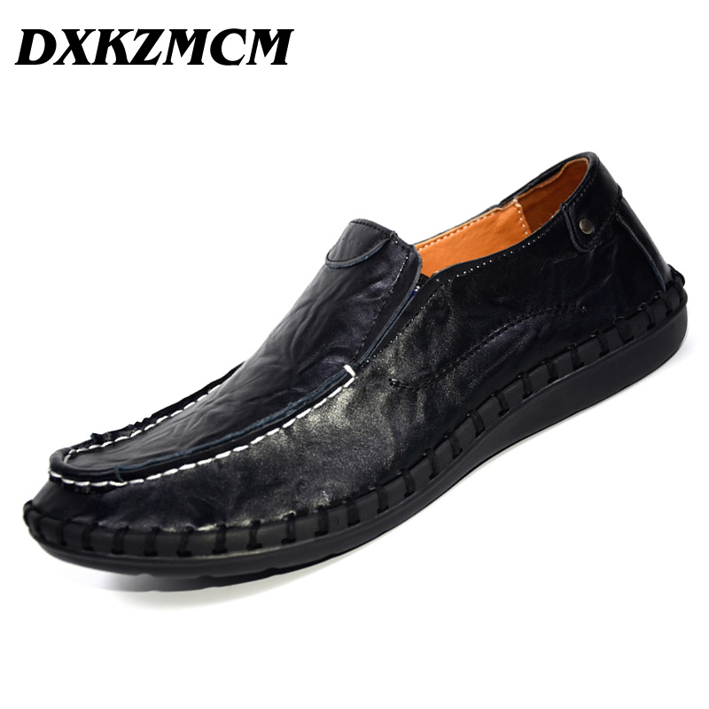 DXKZMCM Moccasins Men Genuine Leather Shoes Casual Men Shoes Male Leather Shoes Slip On Men Loafers