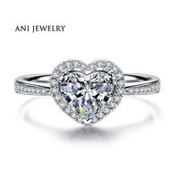 ANI 18K White Gold (AU750) Women Wedding Ring 0.6 CT Certified I/SI1 Heart Shape Natural Diamond Halo Engagement Ring for Lovers