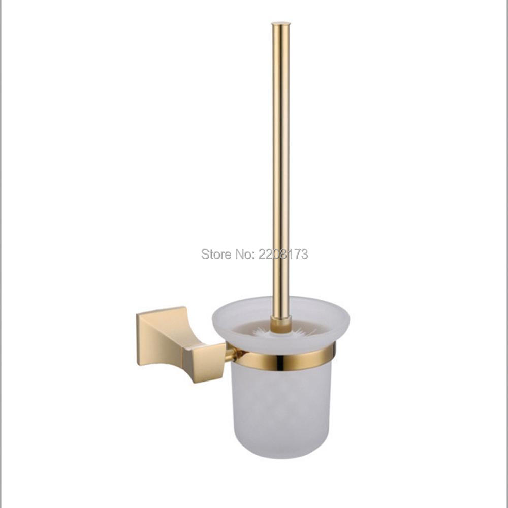 ФОТО Smesiteli 2017 New Arrival Luxury Contemporary Ti-PVD Toilet Brush Holder Glass Cup Wall Mounted Bathroom Faucet Accessories