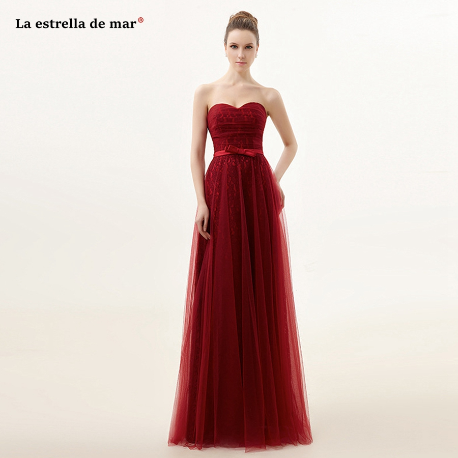 Vestido de madrinha de casamento longo2018 new lace sexy sweetheart a Line burgundy turquoise   bridesmaid     dress   cheap