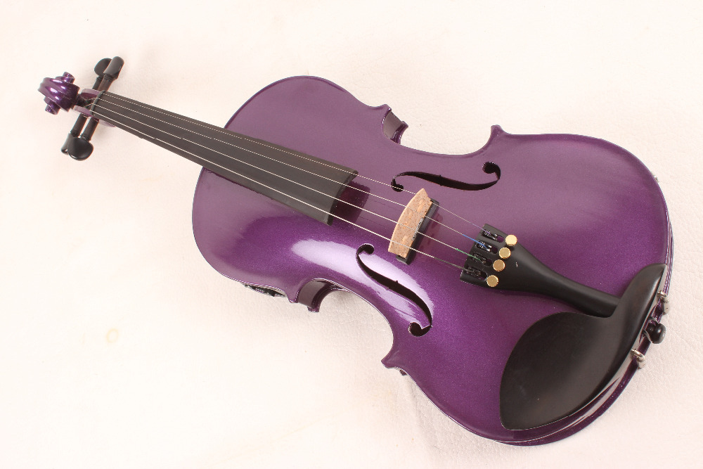 4-String 4/4 New Electric Acoustic Violin dark purple   color   #1-2509# handmade new solid maple wood brown acoustic violin violino 4 4 electric violin case bow included