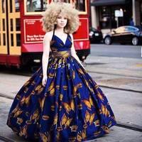 African Dashiki Beautiful Dresses Africa Style Printed Dress Classic Batik Cotton Short Sleeve Dress Retail Wholesale