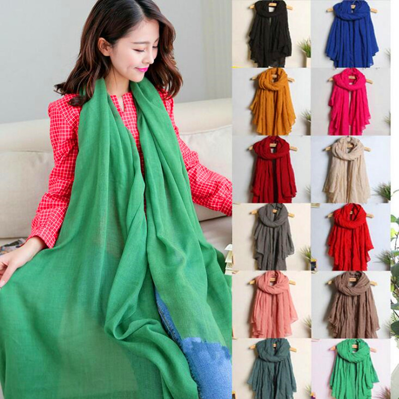180*140CM Solid Color   Scarf   Large Size Cotton Linen Autumn Winter Soft Shawl Female Pashmina Literary   Wrap   Hijabs Beach   Scarves