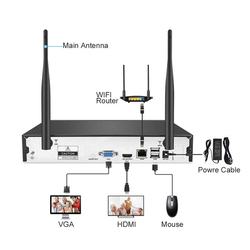 Techage système de sécurité sans fil 4CH 1080 P NVR 2.0MP enregistrement Audio CCTV WiFi caméra IP IR-CUT Kit de Surveillance vidéo extérieure 2 to - 2