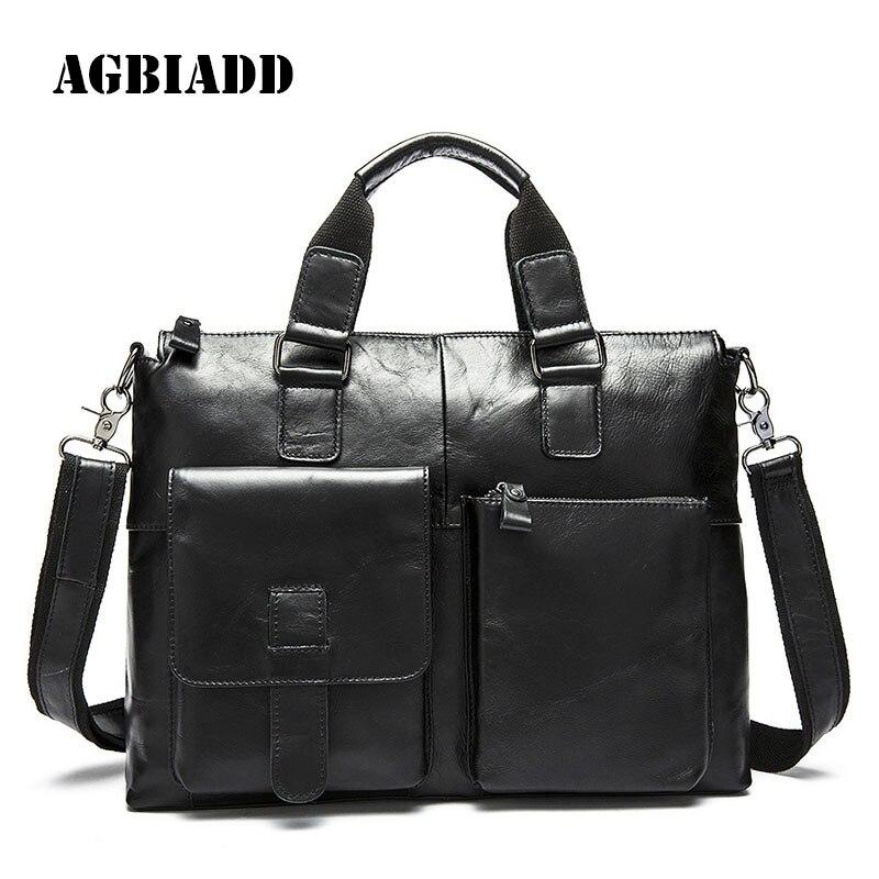 AGBIADD Men Business Bags Men Soft Briefcase Bags Man Bags Laptop Bag Leather Pasta Executiva Masculino 468 набор для кухни pasta grande 1126804