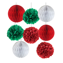 Set of 8 Christmas Hanging Decorations Red/Green/White Tissue Paper Honeycomb Balls Pom Pom Set Christmas Tree Ornaments Decor цена