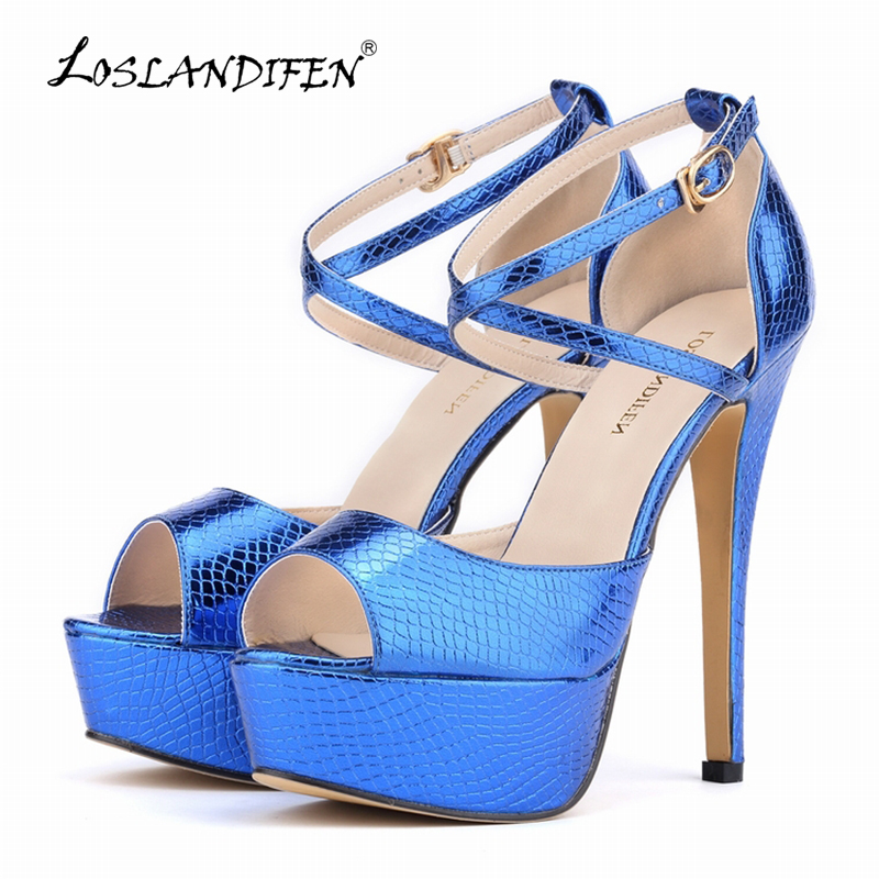 LOSLANDIFEN Sexy Peep Toe Women Pumps Open Toe Extreme High Heels Shoes Fashion Platform Shoes for Woman Blue Pumps 817-8XEY 2017 new fashion women neon color block platform wedges high heels sexy open toe woman wedge peep toe pumps shoes big size 34 45