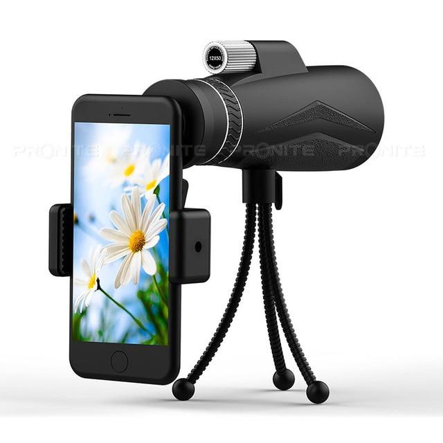 Zoom monocular 12x50 telescópio profissional hd visão noturna monocular caça óptica escopos suporte do telefone/tripé turizm spyglass