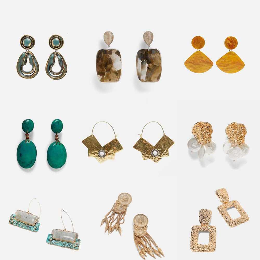Girlgo nouveau ZA couleur or boucles d'oreilles Vintage pour femmes mode cristal bohème déclaration métal frangé goutte boucle d'oreille bijoux