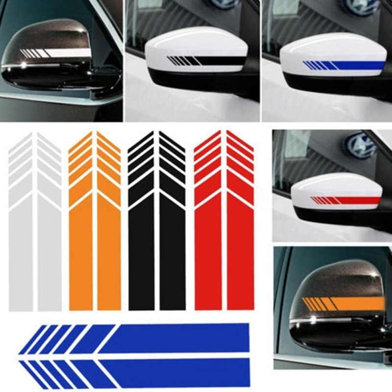 2pcs Rear View Mirror Stickers Car Styling PET Car Sticker Rearview Mirror Side Decal Stripe Car Accessries