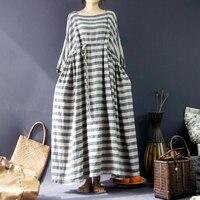 2015 весна продукта запускает, оригинальный дизайн 100% хлопок лен женская Платье в полоску сыпучих большой ярдов