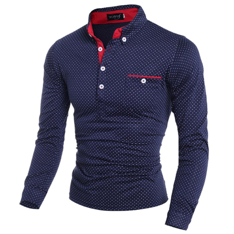 2018 Brands Mens   Polo   Shirt Long Sleeve lapel Fashion Casual Slim business Polka Dot Pocket Button   Polos   Men Large size tops