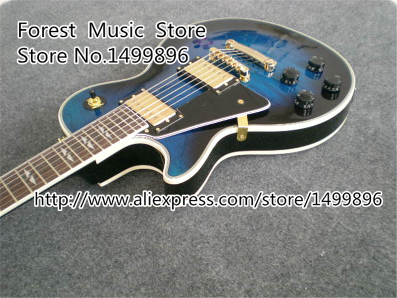 Custom Shop Vintage Blue Tiger Grain 24 Frets Guitar Lefty LP Electric Guitars China OEM Kits Available