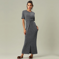 women Fashion autumn short sleeve stretch casual maxi long bodycon dress for work office lady women islamic muslim long gowns