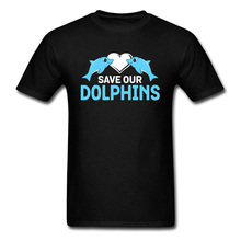 Save Our Dolphins Love Casual Brand Tee Shirt Heart Kiss Sea Ocean Pure Cotton O Neck Youth T Design Graphic Clothes Male