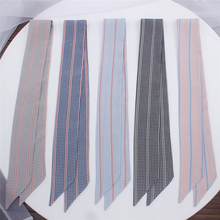 2019 New Dot And Striped Skinny Scarf Women Bag Silk Scarves Fashion Head Luxury Brand Wrist Towel For Ladies Band