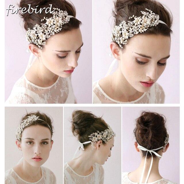 European Fashion Hochzeit Kopfschmuck Gold Blumen Kristall Stirnband