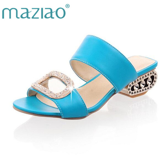 d07e757e29757 MAZIAO Big size 34- 43 new 2018 Rhinestone sandals women