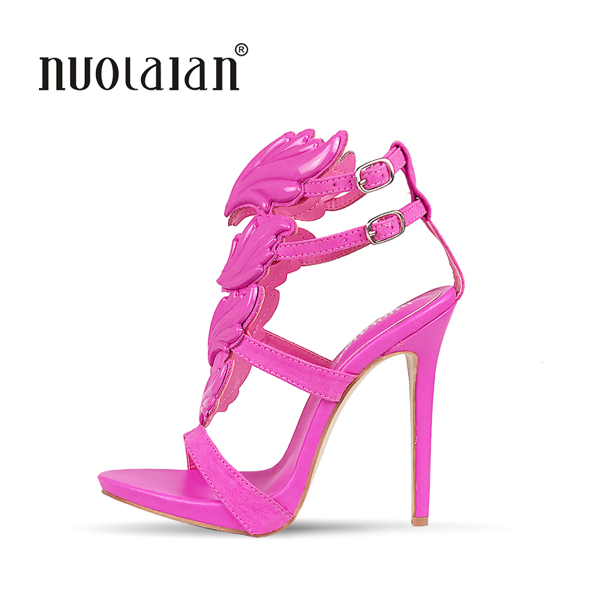 42e3c6bc4e5 2018 Summer Brand Women Pumps Sexy High Heels sandals Leaf Flame Women s  Shoes Peep Toe High Heels Party Wedding Shoes Woman - a.mariuszkobiela.me