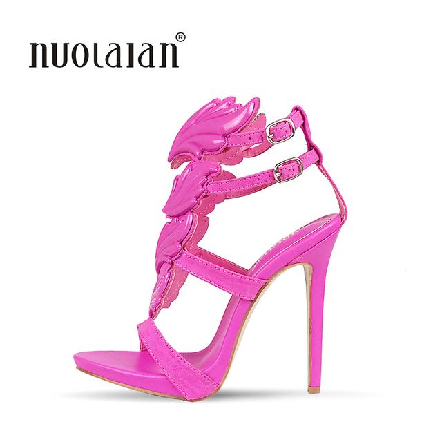2018 Summer Brand Women Pumps Sexy High Heels sandals Leaf Flame Women's Shoes Peep Toe High Heels Party Wedding Shoes Woman