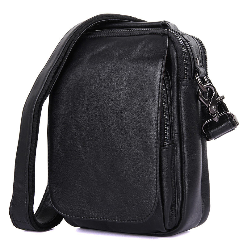 GUBINTU Vintage Black chocolate Messenger Bag for Men Genuine Leather Men s Shoulder Bag Portable Business