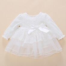 Fashion Newborn Wedding Baby Girl Dress  Summer White Cotton Ruffle Embroidered bow Long Sleeve Baptism Tutu Dresses Set Infant